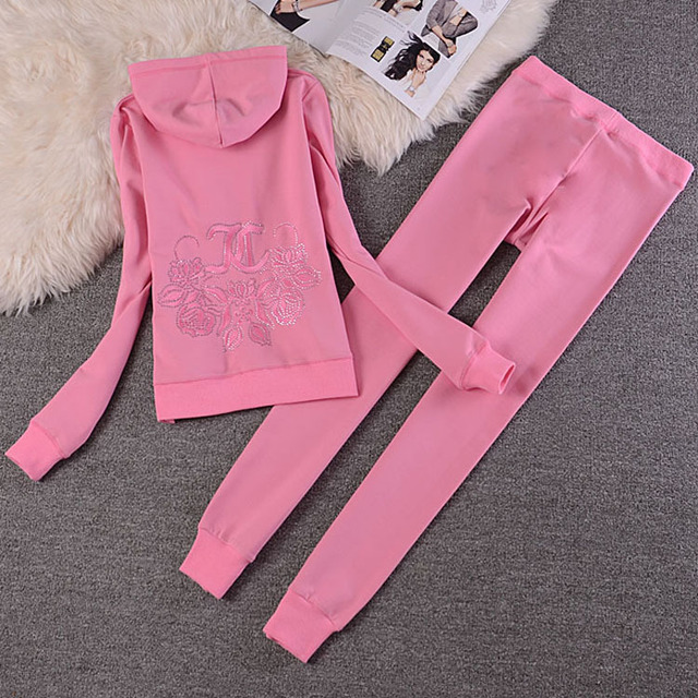 Fashion Casual Velvet Fabric Women Tracksuits Velour Suit Hoodies Tops and Sweat Pants Set S-XXL 2