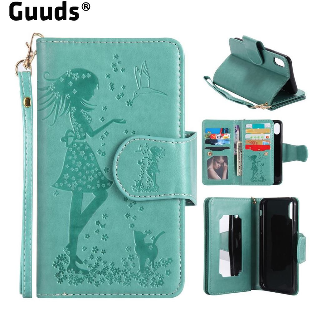 GUUDS For iPhone X Ten 10 Phone Cover Coque Bag Case Embossing Cat Girl 9 Card Leather Wallet Case for iPhone X 5.8 inch