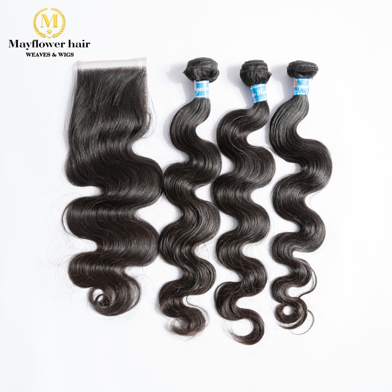 "Mayflower 3/4 Bundles 100% Unprocessed Virgin Malaysian Body Wave With 4x4"" Swiss Lace Closure Mix Length 12-26"" Free Shipping"