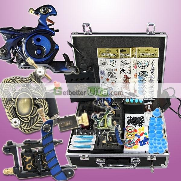 Ee.uu. entrega completa arranque Tattoo Kit 3 ametralladora del LCD de alimentación agujas consejos Grips juego de aparatos suministros