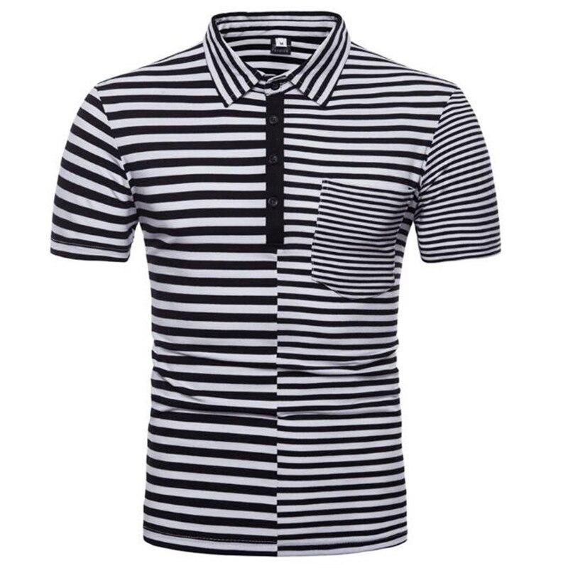 Мужская футболка 2018 летняя новая хлопковая рубашка с коротким рукавом простая полосатая футболка с воротником-стойкой Мужская футболка XZ101