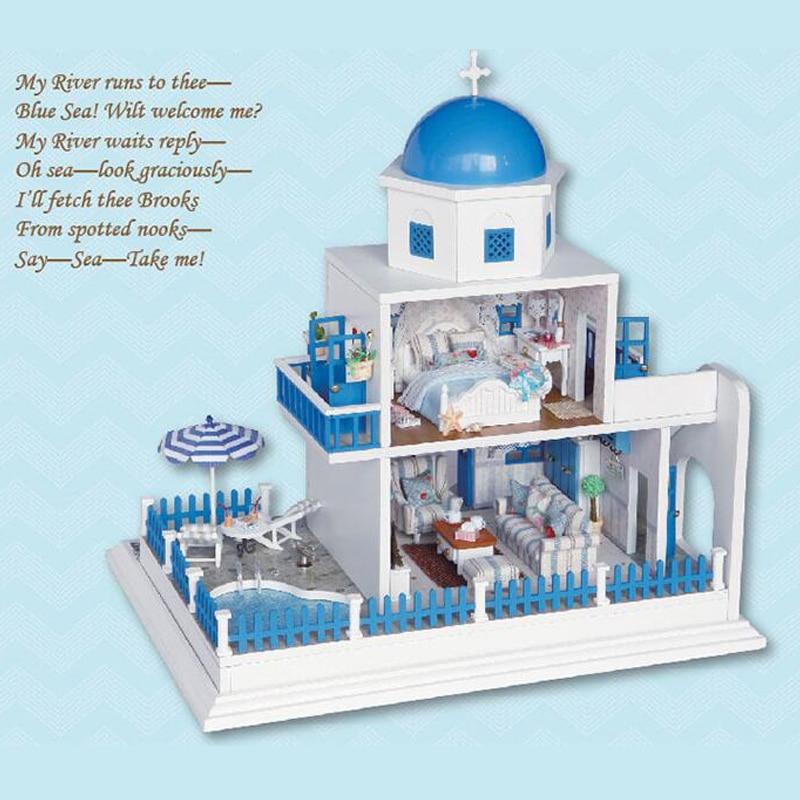 Miniature romantique santorin île Villa modèle bricolage maison de poupée meubles Kit bois maison de poupée lumières bricolage artisanat cadeau de noël