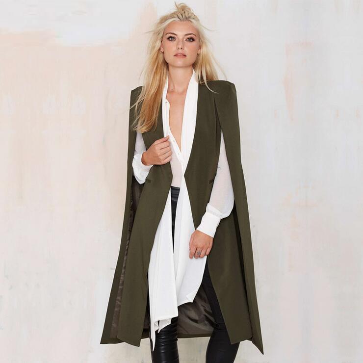 Queechalle XS XXL Cloak Blazer Big Size Suit Autumn British Style Street Wear Long Cape Blazer