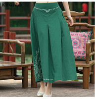 Cheshanf Vintage 70s Design Long Dark Green Blue Red A Line Midi Skirt Women Mexico Style