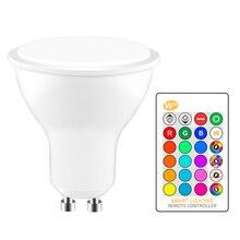 GU10 RGB LED הנורה 8W IR שלט רחוק AC 85 265V תאורת אווירת 16 צבע משתנה דקורטיבי אורות