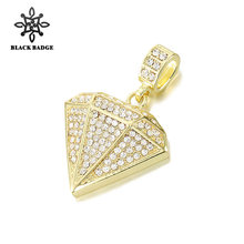 d65bd398fcfc03 Men Hip Hop Jewelry Rhinestone Geometric Pendant Iced Out Bling Bling  Crystal Gold Silver Chain Charm Necklace Stainless Steel