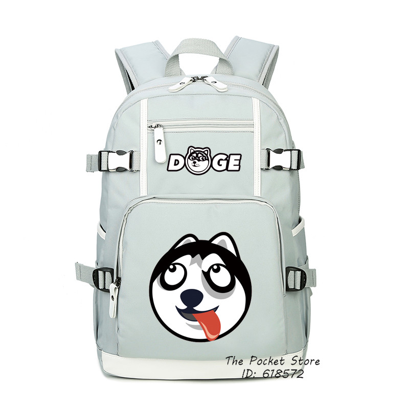 2018 New Doge Funny Emoji School Bags Shiba Inu Printing Backpack Husky Kawaii Women Backpack Laptop Backpack Fashion Travel Bag black fashion luxury man watch woman unisex brand simple business mesh stainless steel band japan quartz thin waterproof relogio