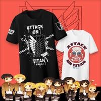 [Stock] Anime Attack on Titan Shingeki no Kyojin Summer cotton t-shirt Unisex S-2XL NEW 2017 free shipping