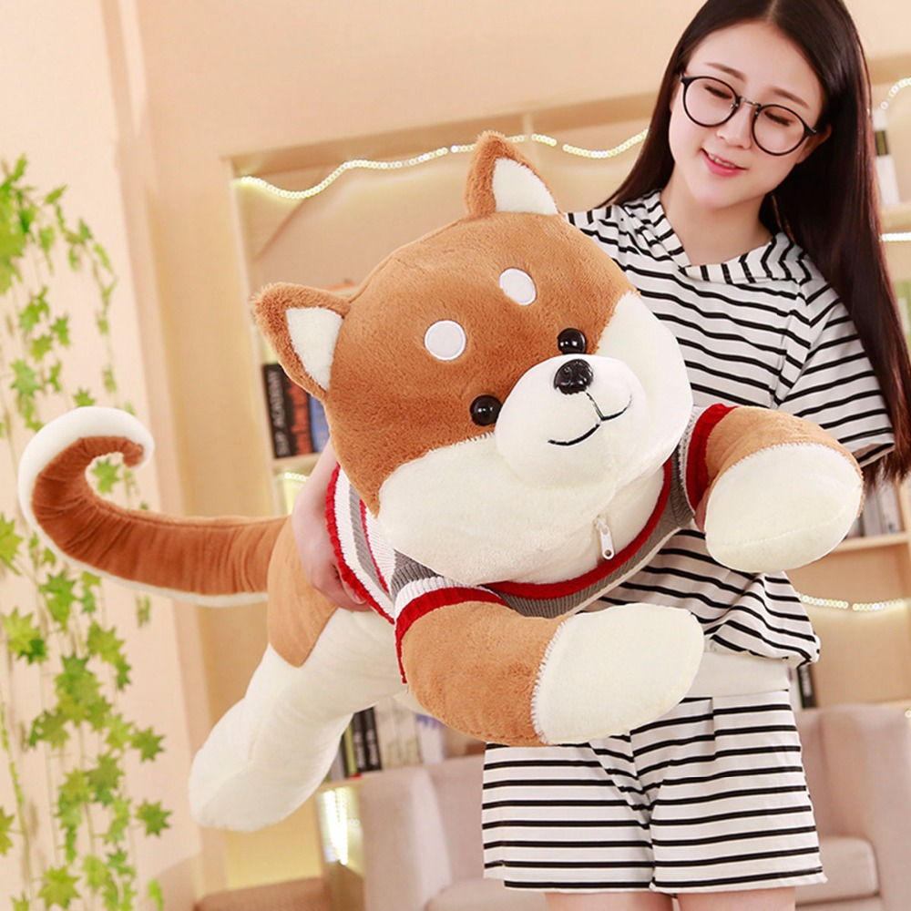 1pc 1.3m Big Cute Shiba Inu Plush Toys Soft Kawaii Chai Dog with Sweater for Kids Baby Lovely Doll Stuffed Pillow Christmas Gift nooer new arrival husky shiba inu stuffed plush toy cute soft husky shiba inu stuffed pillow sofa cushion kids birthday gift