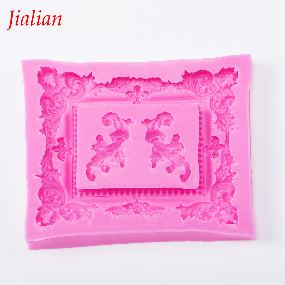 jialian 3D big Retro Mirror Frame chocolate Party cake decorating tools DIY baking fondant silicone mold FT-0424