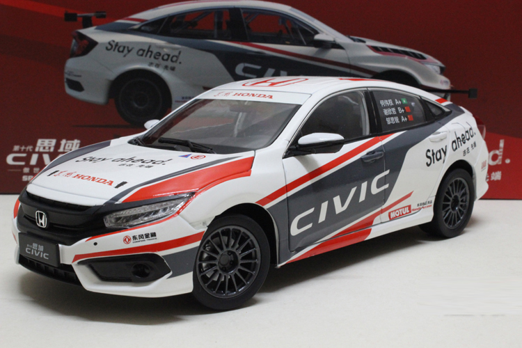1:18 Diecast Model for Honda Civic CTCC 2016 MK10 Blue Racing Alloy Toy Car Miniature Collection Gifts
