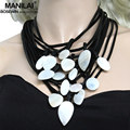 MANILAI Chic Multilayer Leather Shell Charm Necklace For Women Statement Choker Maxi Necklaces & Pendants Bijoux Femme