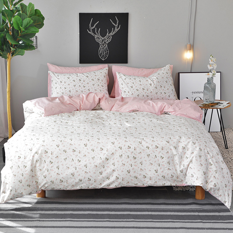White Flowers Duvet Cover Set Twin Queen King Size Bedding Sets Pink 100 Cotton Bed Sheet