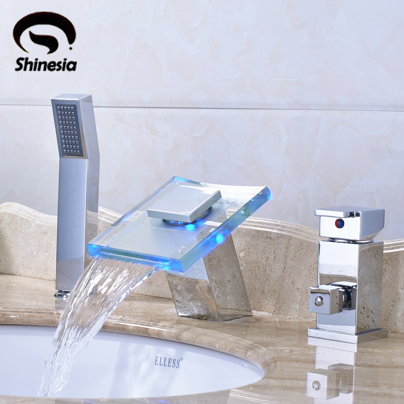 Chrome Polished LED Waterfall Spout Mixer Tap Bathtub 3PCS Faucet Single Handle wirh Handheld Shower Deck