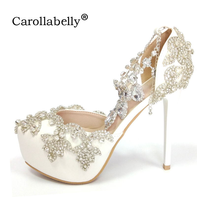 2018 Women High heels Prom Wedding Whoes Lady Crystal Platforms Silver Glitter Rhinestone Bridal Shoes Ankle Strap Party Pumps цены онлайн