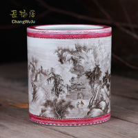 Changwuju jingdezhen home decoration Handmade artwork brush pot painted by the master for furnishing, decorating and collecting