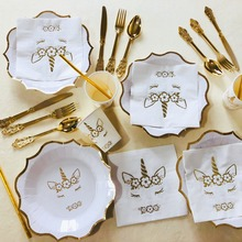 Omilut Unicorn Party Decor Baby Shower 1th Birthday Kid Supplies Hot Stamping Wedding Decoration Childrens