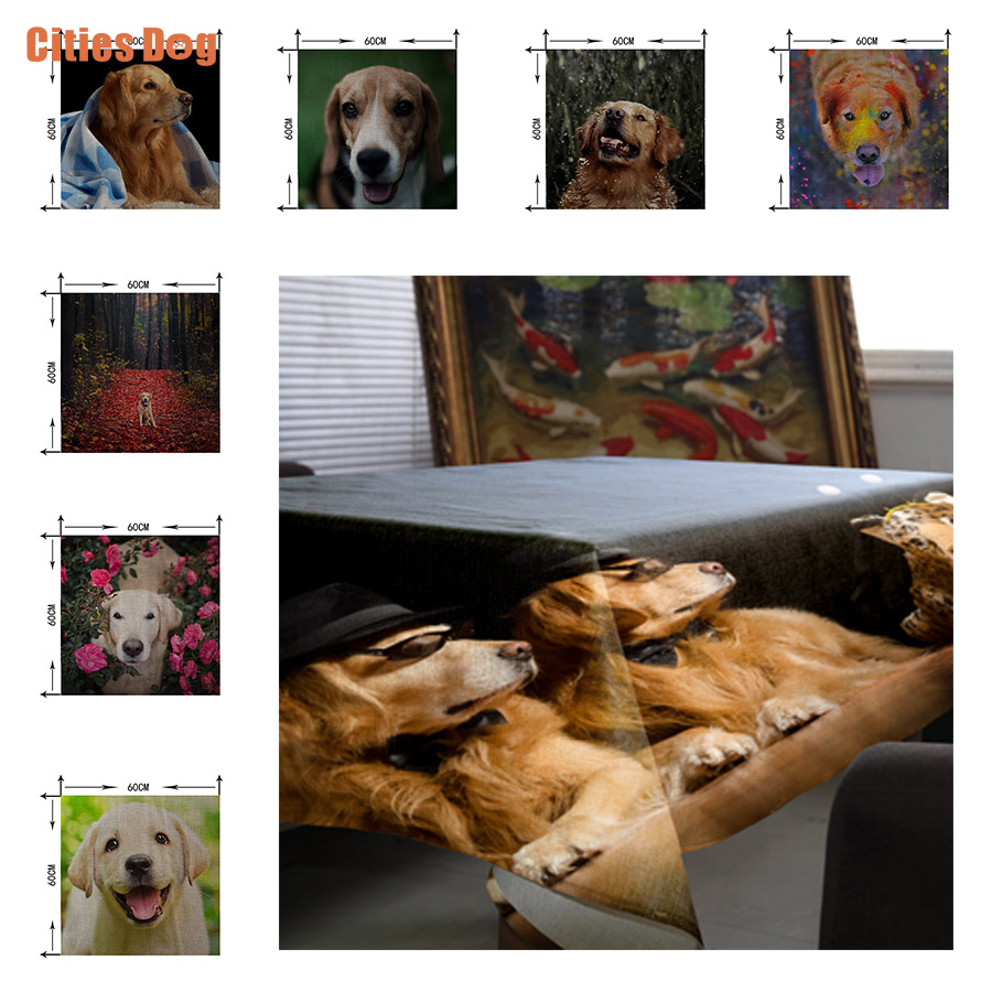christmas decorations Tablecloth Animal dog Gold Retriever Christmas gift Wedding Decoration Cafe Hotel Tablecloths Washable
