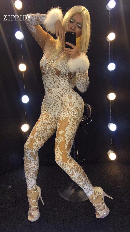 Brillant Pierres White Chanteuse Costume Célébrer Blanc Strass Tenue Dentelle Body Nude Scène Parti Stretch De Glisten Mode zMpqUVS