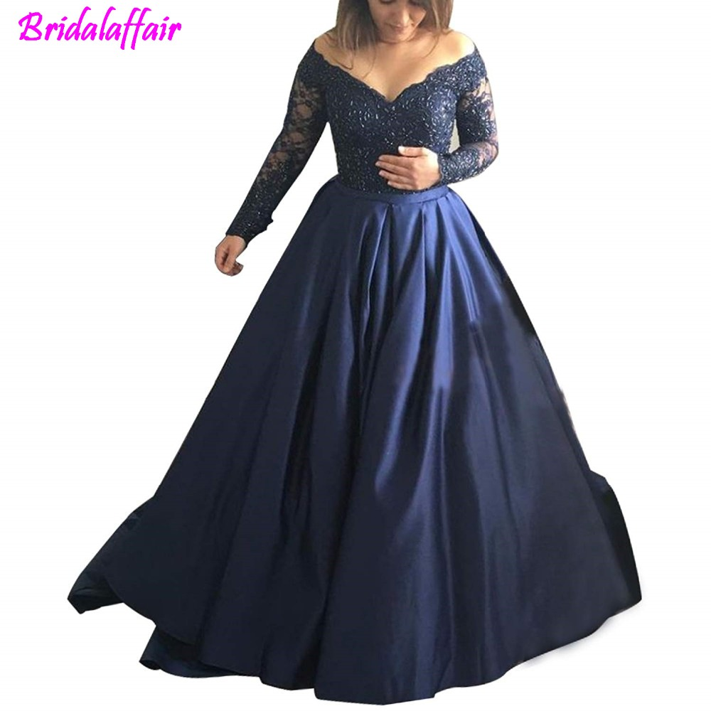 Women's Long Evening Dress Lace Sleeve V Neck Ball Prom Gowns robe de soiree abendkleider evening dresses long formal dress