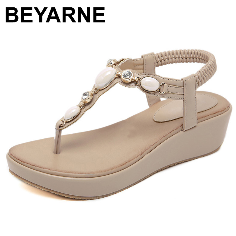 BEYARNET Strap 2019 Summer New Women Sandals Bohemian Beaded Wedges Med Heel Large Size Comfortable Sandals Lady Beach ShoesE612