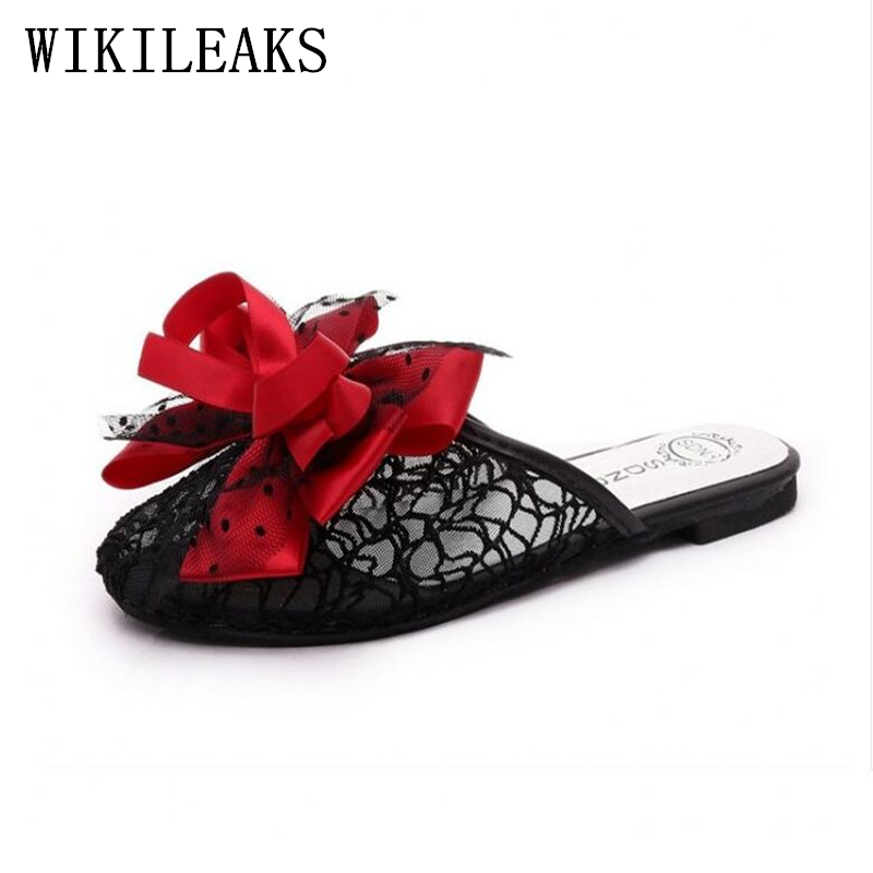 designer butterfly-knot sandals women slippers summer shoes pantoffels dames lady lace flat Slides luxury brand mules sandalias mnixuan women slippers sandals summer