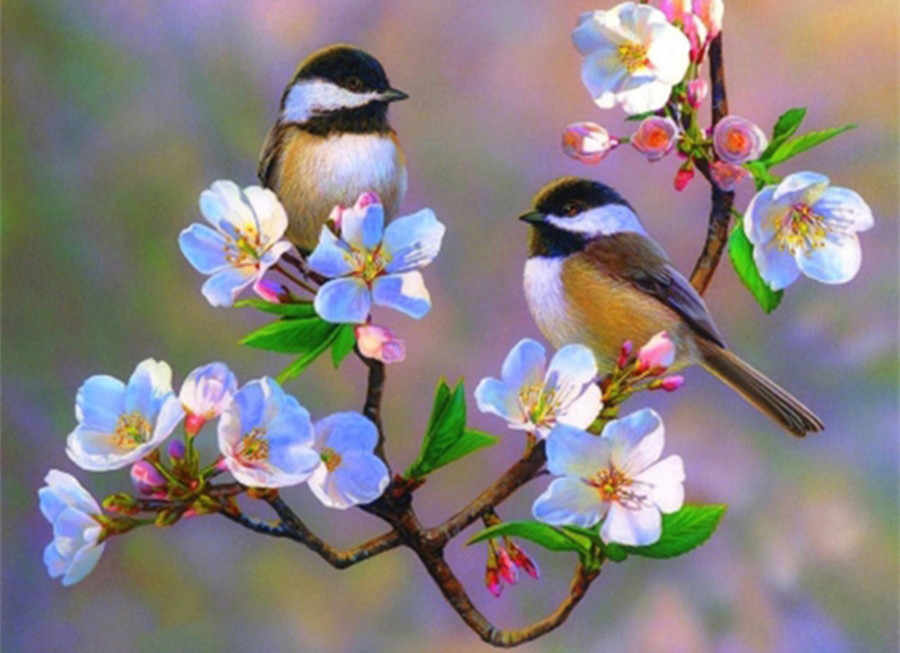 Nuova vendita calda diamante 5d pittura cherry blossom chickadees uccello immagine mosaico strass handmade cucito diamante ricamo