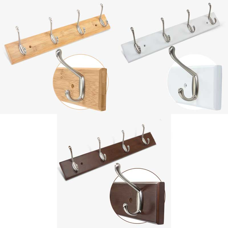 Bamboo base with 4pcs metal hooks coat hanger, wall mount holder,