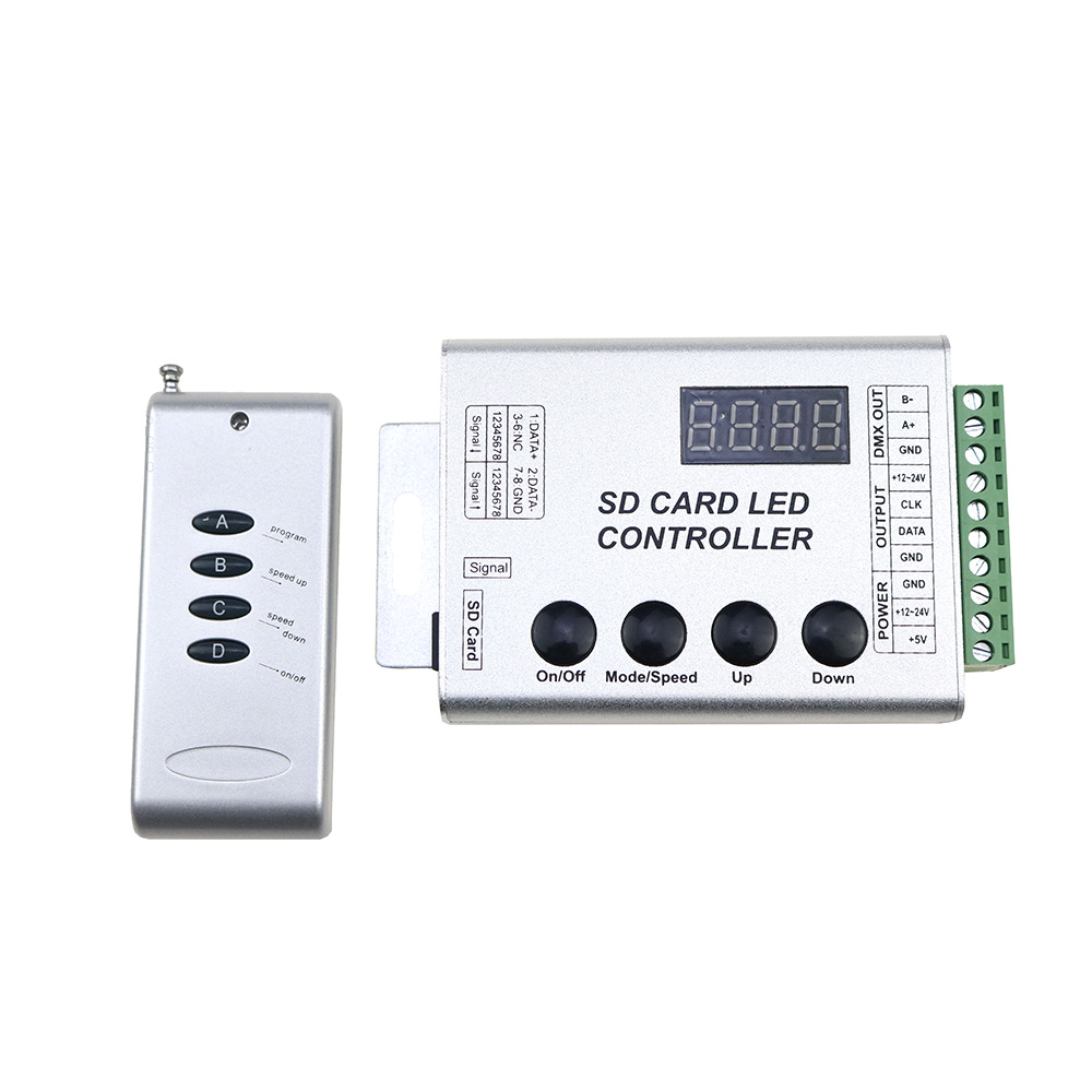 US $23 91 34% OFF|SD Card LED Controller Pixel Led Control Pixel Controller  Support DMX512 ws2811 RGB Controller Compatibility Most IC DC5 24V-in RGB