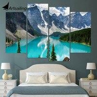 4 개 캔버스 그림 눈 산 강 HD 인쇄 캔버스 예술 인쇄 벽 홈 장식 포스터 거실 XA178B