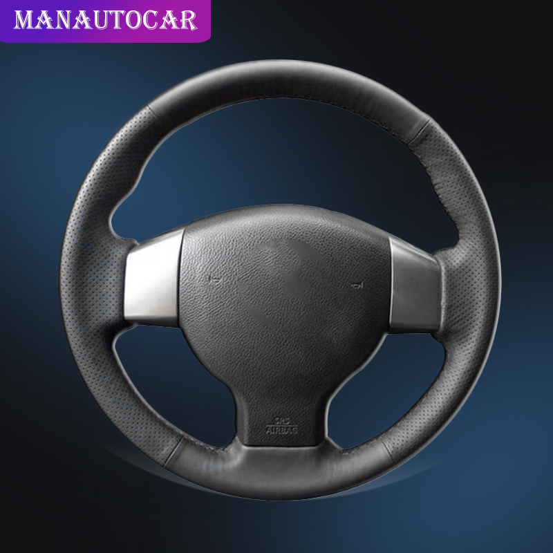 Car Braid On The Steering Wheel Cover for Old Nissan Tiida Livina Sylphy Note Car styling Auto Braid Leather Steering Covers in Steering Covers from Automobiles Motorcycles