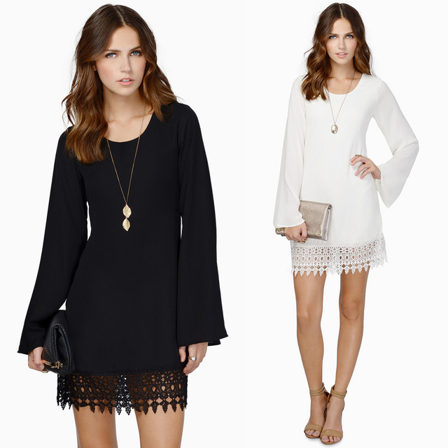 Long sleeve shift dress white and black