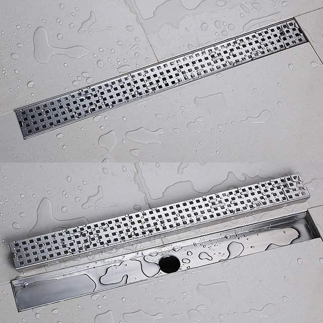 600mm/900mm Stainless Steel Bathroom Shower Floor Drain Grates Waste Linear Tile Insert Long Drainer Floor Drain