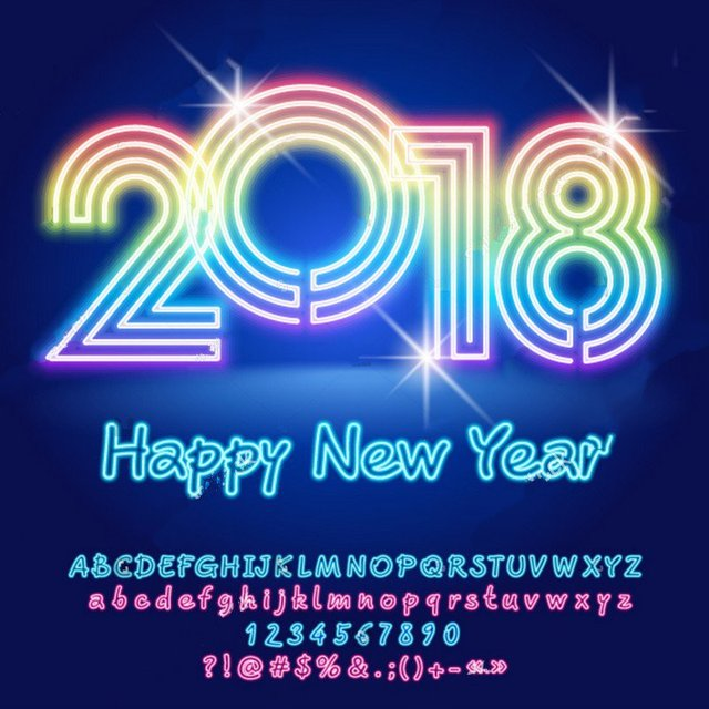 2018 rainbow sparkly light happy new year blue backgrounds vinyl cloth computer print wall backdrop