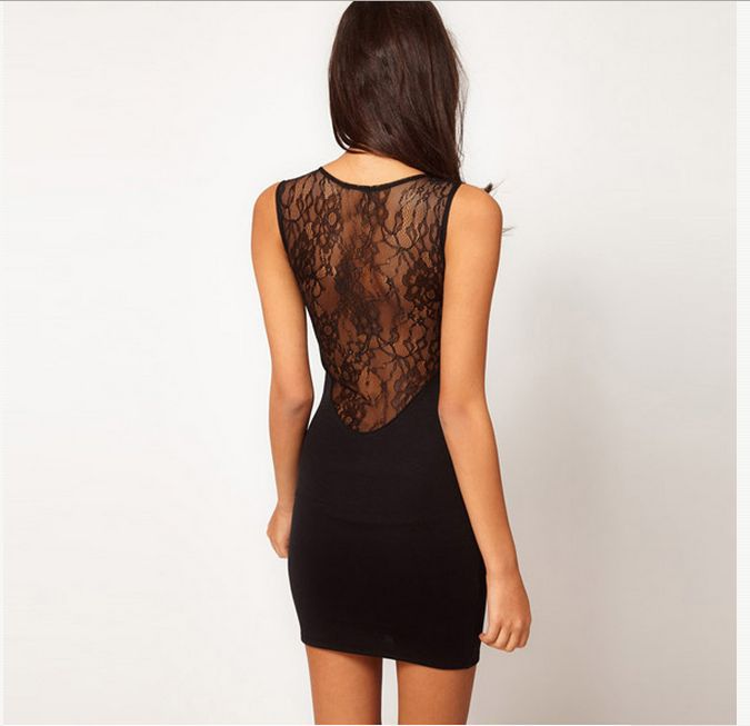 0bb4e6321cdc Women Mini Dress Party Clubbing Slim Dress Sexy Chic See through Sleeveless  Splicing Lace dresses -in Dresses from Women's Clothing on Aliexpress.com  ...
