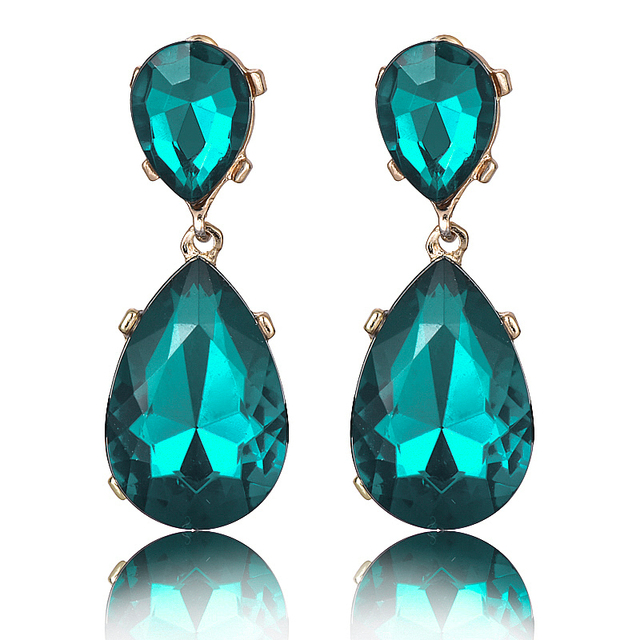 E095 Hot Sale Water Crystal Drop Earrings Vintage Wedding Jewelry For Women Fash
