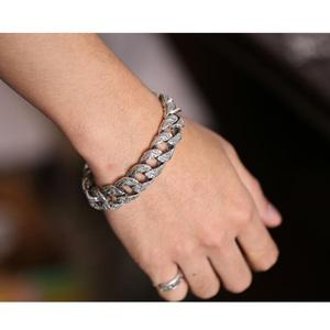 Image 3 - Czyste srebro S925 ciężki gruby rzeźbiony Link Chain Flat crosss bransoletka lite srebro bransoletka srebro 925 biżuteria srebrna