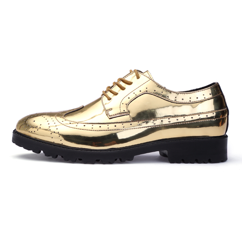 En Travail Brogue Homme Masculine Or Luxe Designer De Robe Mode argent Pour Oxford Cuir Mocassin Hommes Chaussures Argent Or Marque W1wq06W