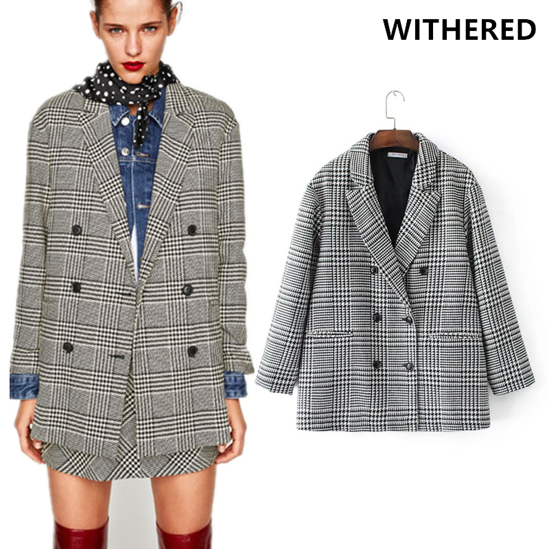 Withered 2017 winter jacket blazer feminino jacket vintage plaid notched  houndstooth double breasted women blazers and
