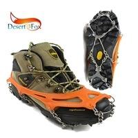 Desert & Fox 1-Pair Crampons 12 Steel Claw Teeth 미끄럼 방지 야외 겨울 눈 얼음 하이킹 등산 그리퍼 액세서리 도구