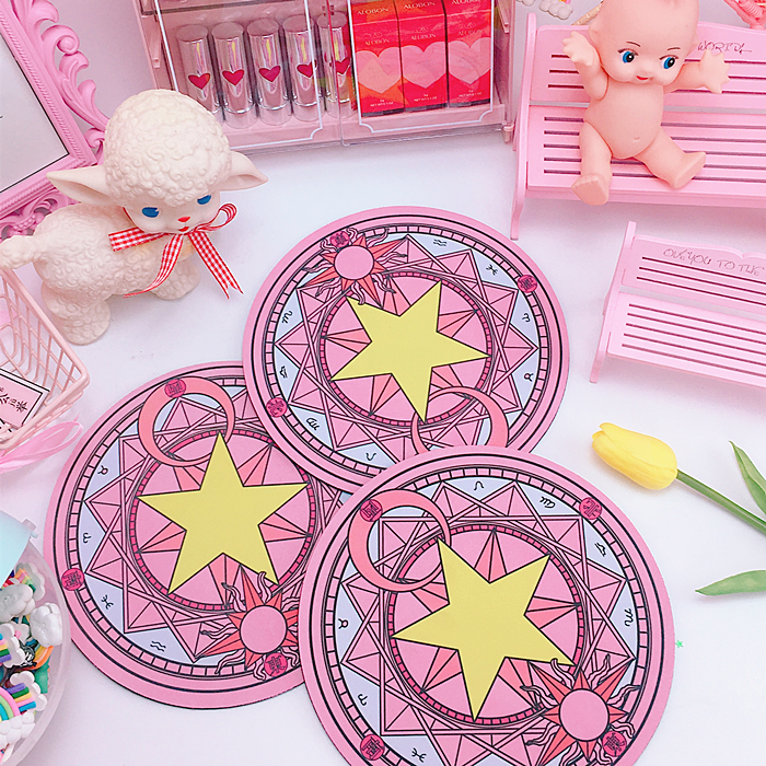 Provided Magic Card Captor Cardcaptor Clow Clear Card Sakura Kinomoto Star Wand Mouse Mat Pad Round Carpet Rug Mousepad Cosplay Props Curing Cough And Facilitating Expectoration And Relieving Hoarseness Costume Props