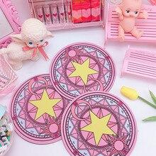 Волшебная карта Captor Cardcaptor Clow Clear Card Sakura Kinomoto Star Wand коврик для мыши круглый ковер коврик для мыши косплей реквизит