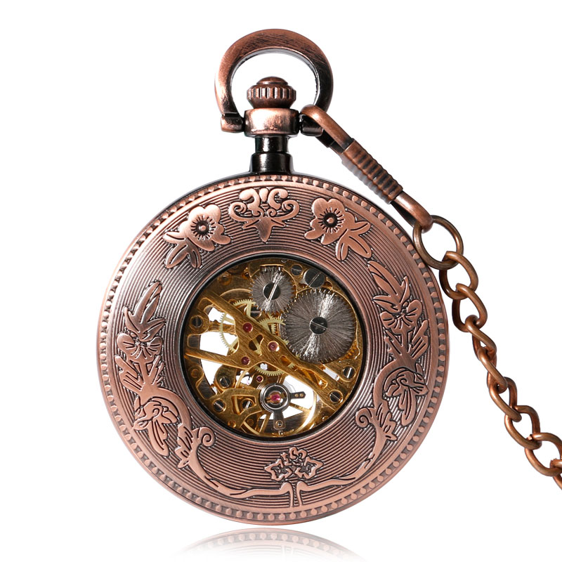 Esqueleto de Cobre Steampunk Archaize Antigo Escultura Mecânica Mão Vento Bolso Relógio Unisex Presente Pingente Fob Acessório
