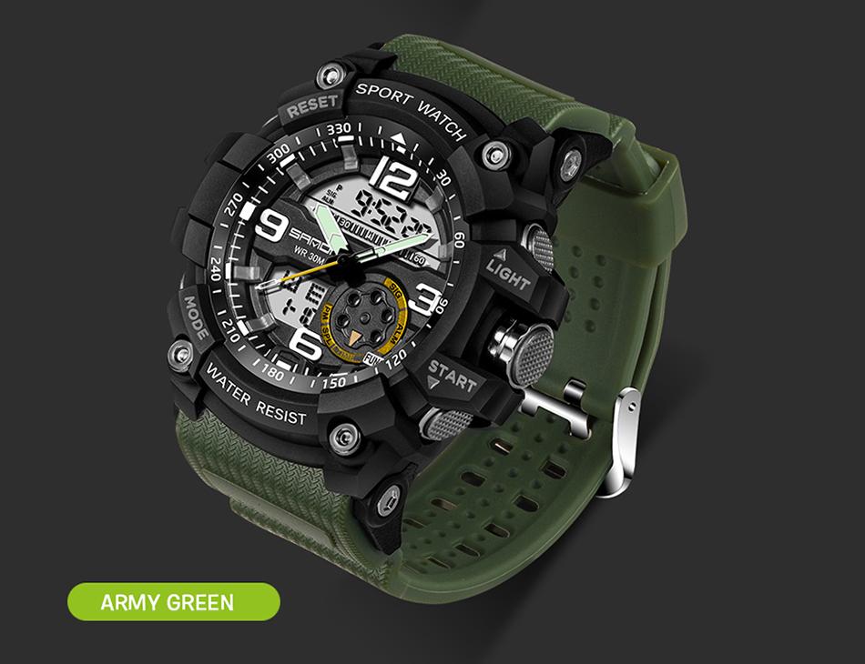 Sanda 759 Men Military Sport Watch Army Green