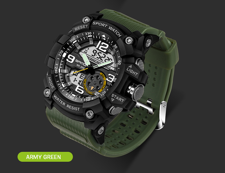 Sanda 759 Men Military Sport Watch Army Green