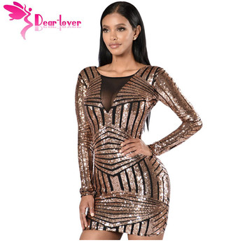 DearLover Special Occasion Women Bodycon Rose Black Open Back Long Sleeve Sequin Party Mini Dress vestido de festa curto LC22867