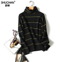 Shuchan для женщин Зимний свитер 2018 толстый зимний полосатый свитер с высоким воротником пуловер вязание 100% кашемир вязаный розовый Топы корре