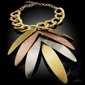 Image 5 - Yulaili بالجملة رخيصة موضة دبي الديكور مجموعات مجوهرات ارتفع الذهب اللون ورقة كبيرة شكل قلادة قلادة أقراط