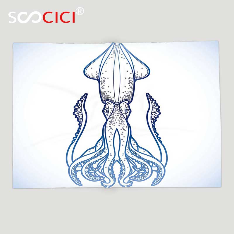 Custom Soft Fleece Throw Blanket Kraken Decor Squid Figure in Classic Line Art Style Graphic Nautical Marine Creature Image Baby line art