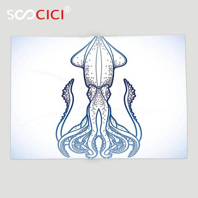Custom Soft Fleece Throw Blanket Kraken Decor Squid Figure In Classic Line Art Style Graphic Nautical